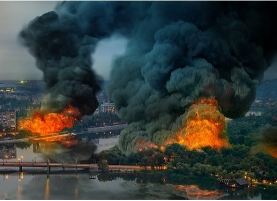 A Fake Photo of Burning Donetsk is Spreading Across the Web