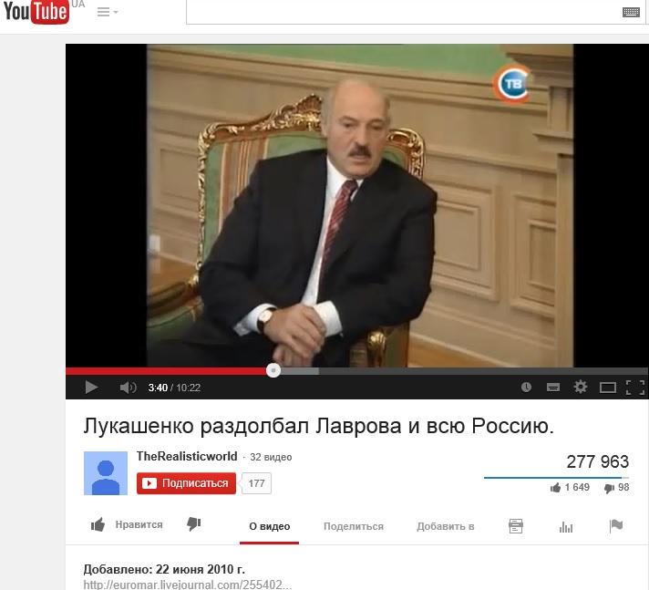 Лукашенко_Ютьюб