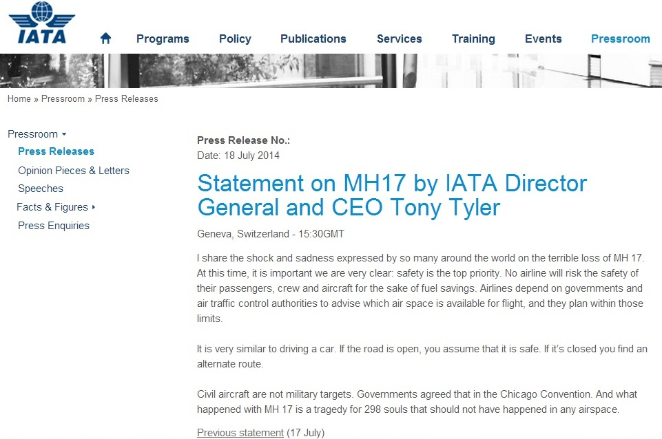 iata.org website screenshot