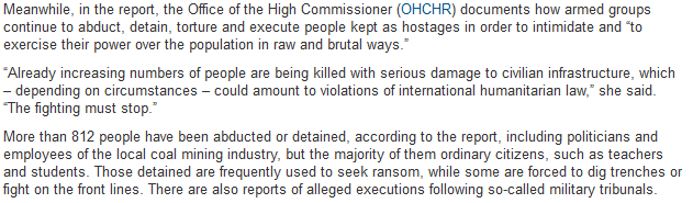 Screenshot of the part of UN report