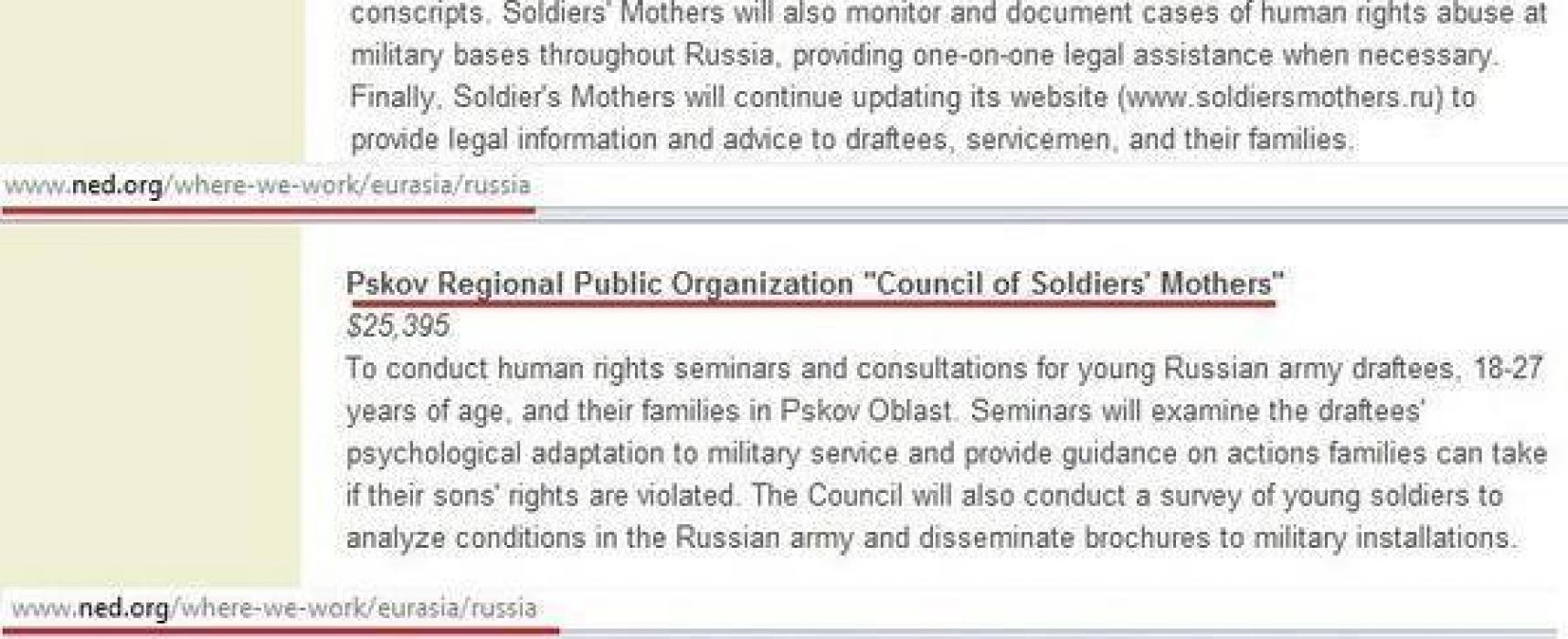 Фейк: Солдатские матери России попались на американских грантах