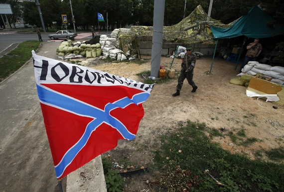 The flag of Novorossiya in the eastern Ukrainian city of Donetsk (Maxim Zmeyev/Reuters)