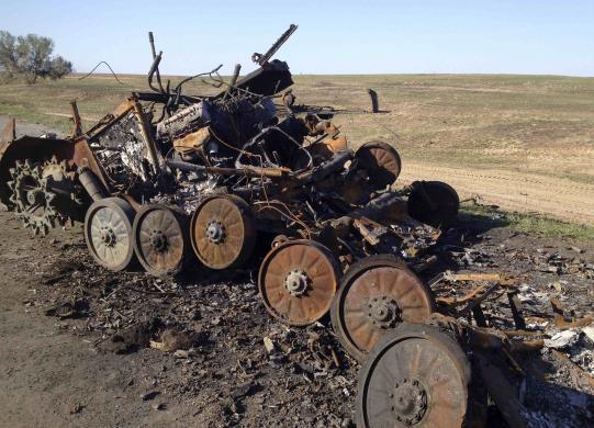 Разрушенный БМП-2 на дороге возле Сторобешевого (с) Мария Цветкова