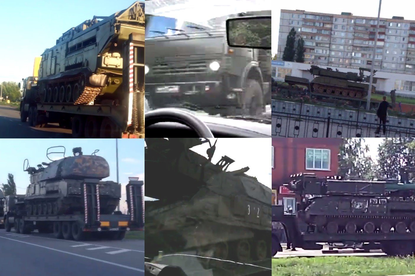 Screenshots from various videos of the June convoy taken by local residents.