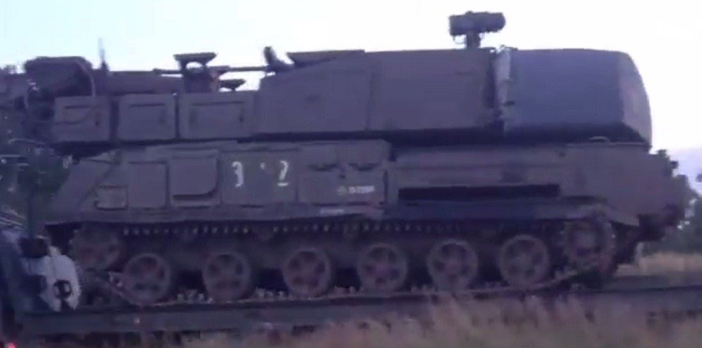 A screenshot from footage of Buk 3×2 in Stary Oskol, Russia on June 23, 2014.
