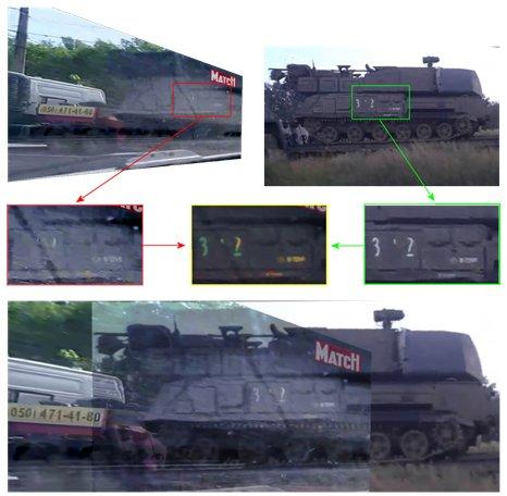 Overlaid comparison between Buk in Paris Match photo in Ukraine and Buk 3×2 in Russia.