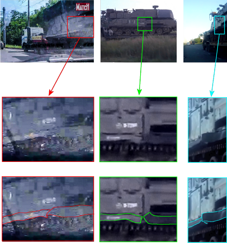 Left, the Paris Match photograph from Donetsk showing side skirt damage on Buk Middle, screenshot from footage in Stary Oskol showing side skirt damage on Buk 3×2 Right, screenshot from footage in Stary Oskol showing side skirt damage on Buk 3×2.
