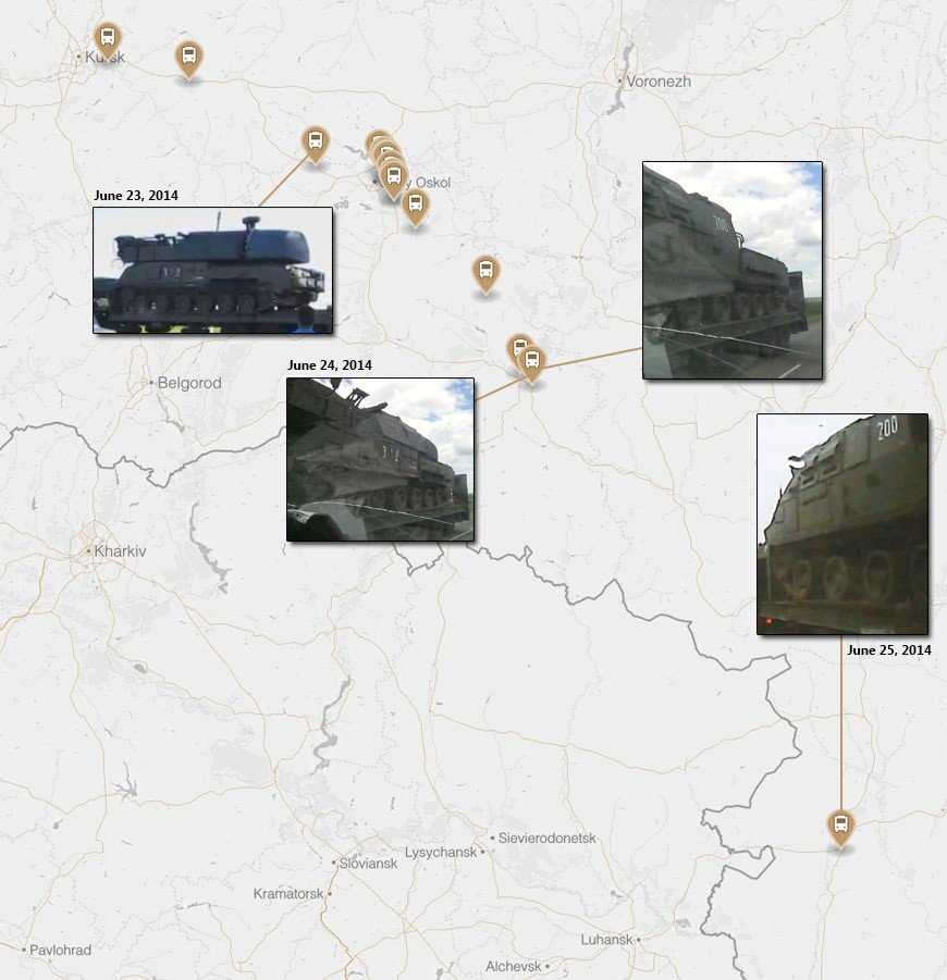 Map showing the route of the June convoy from Kursk to Millerovo near the Ukrainian border. Each point designates a confirmed sighting of the convoy through videos uploaded on social media.