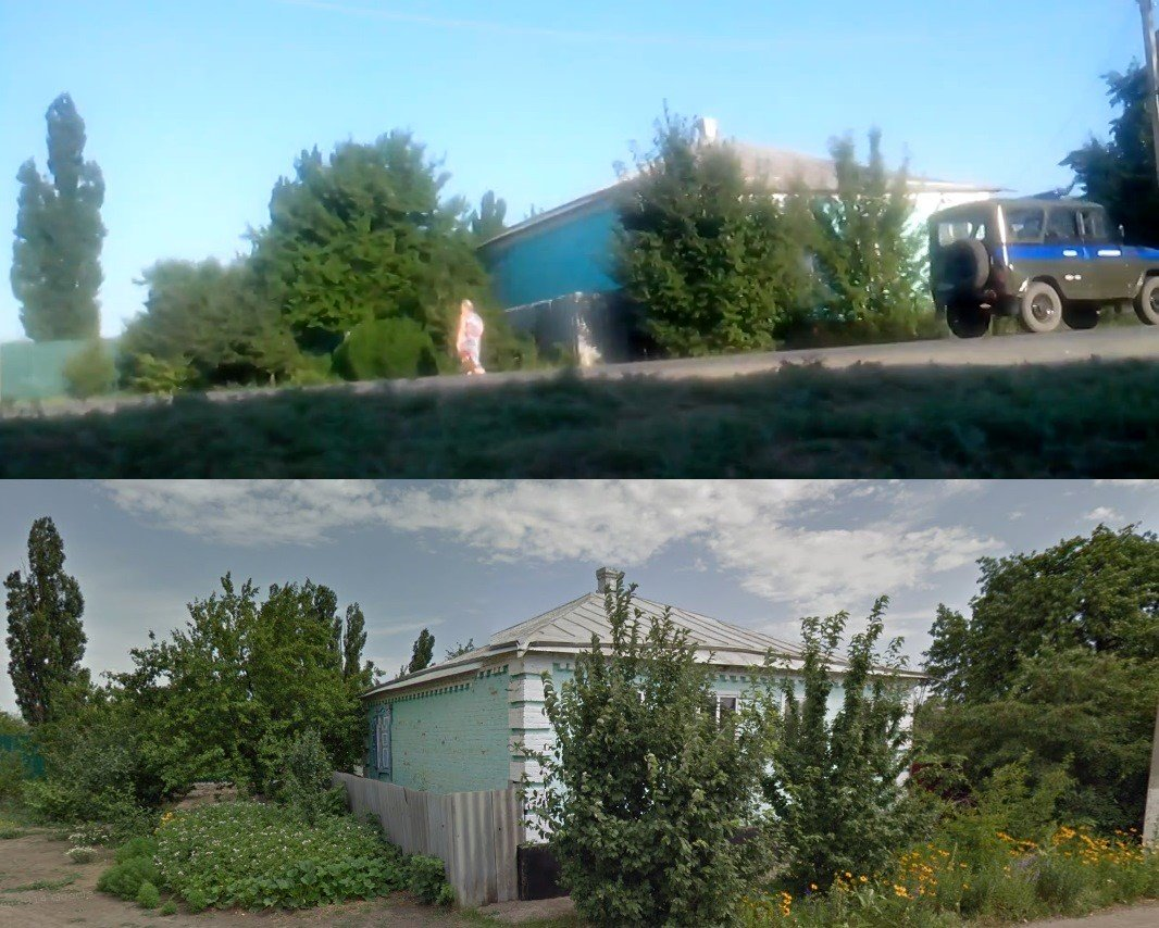 Top, a screenshot from the July 20th video in Kamensk-Shakhtinsky. Bottom, the same location on Google Street View.