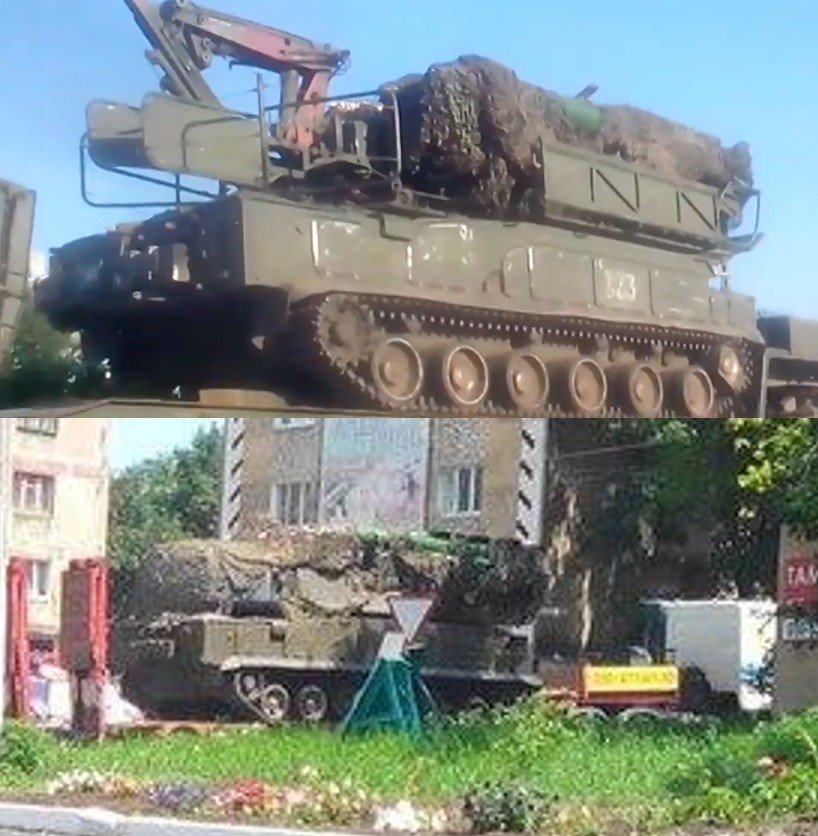 Top, a screenshot from the July 20th video in Kamensk-Shakhtinsky. Bottom, the photograph of the Buk missile launcher seen in Torez on July 17th.