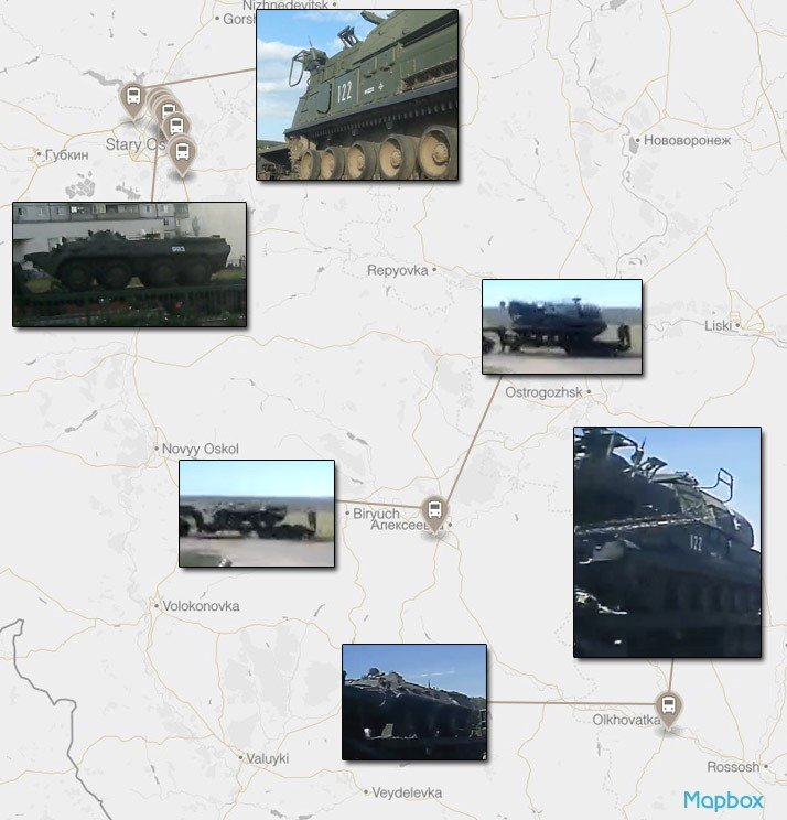 A map showing the route of the July convoy from Stary Oskol to Olkhovatka. Each point designates a confirmed sighting of the convoy through videos uploaded on social media.