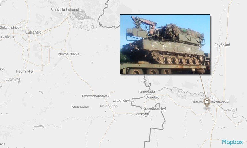 A Buk missile launcher in Kamensk-Shakhtinsky, south of Olkhovatka.