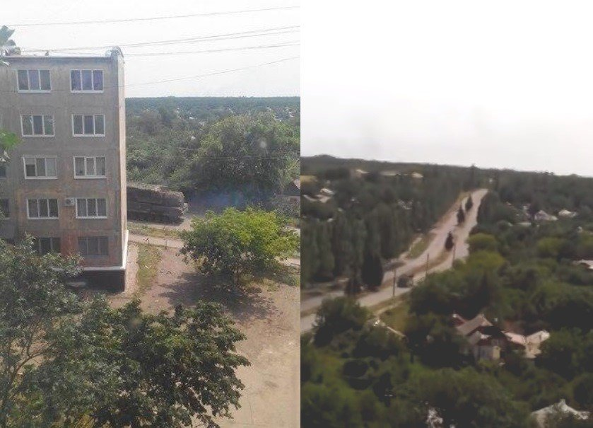 Photograph and screenshot from footage of the Buk missile launcher in Snizhne, Ukraine, July 17, 2014.