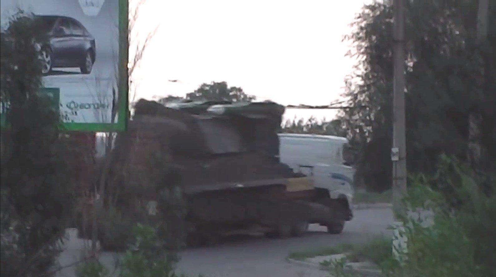 Screenshot from footage filmed in Luhansk, Ukraine, July 17, 2014.