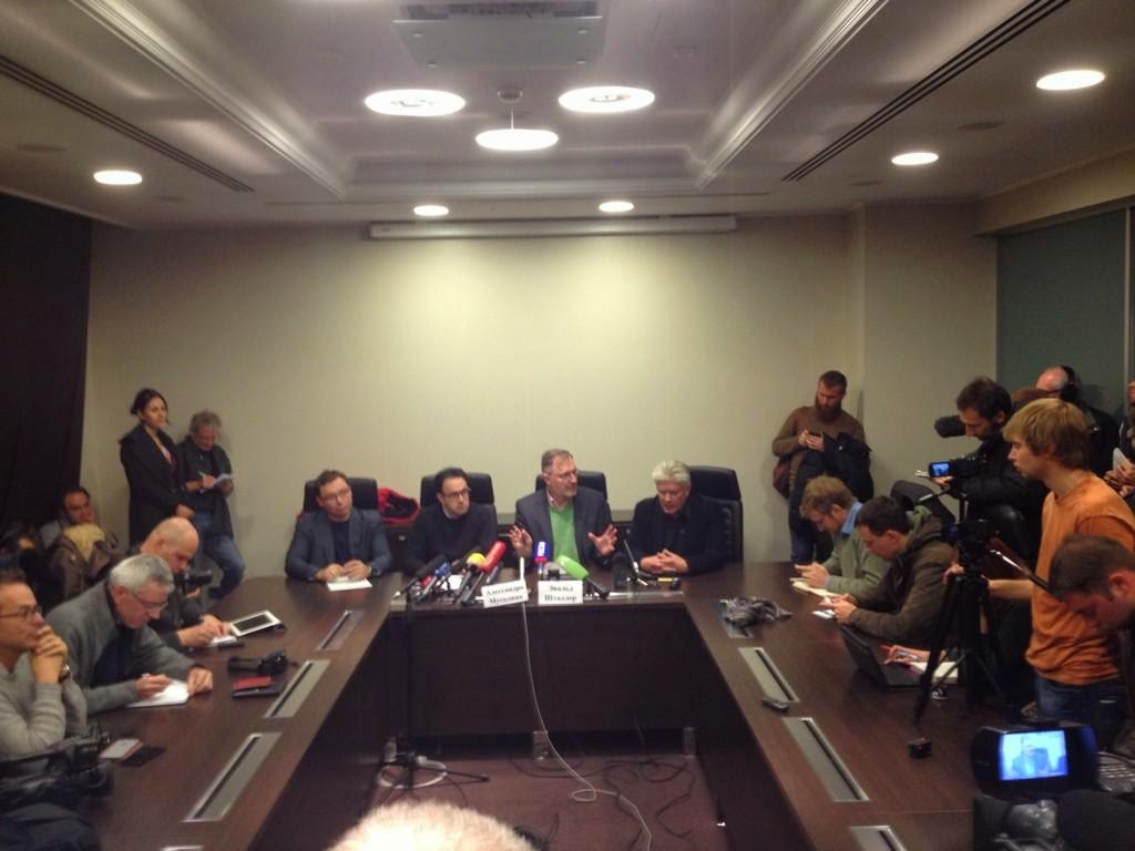 "The press conference of the international ""observers"" in Donbass, 1 November 2014. Second from the left is Alessandro Musolino, third is Ewald Stadler. Photo by Alec Luhn"
