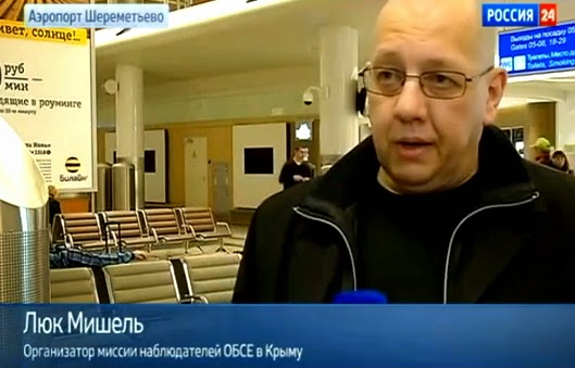 "Belgian fascist Luc Michel, the head of the EODE, in Crimea. The caption reads: ""Organiser of the OSCE observation mission in Crimea"""