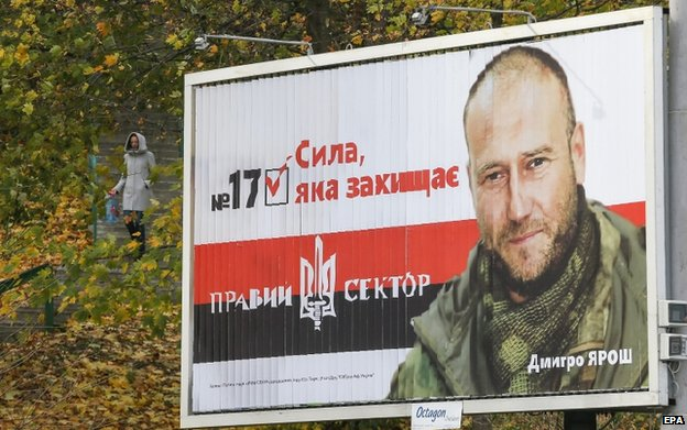 Russian media warn of the threat of Dmitry Yarosh's Right Sector, but the party's electoral support is not high