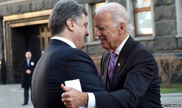 US Vice-President Biden (R) made a high profile visit to President Poroshenko in Kiev in November