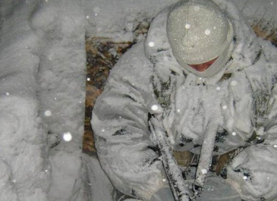 Photo Fake: Sleeping Ukrainian Soldiers Covered with Snow