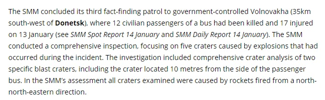 The part of OSCE mission report about Volnovakha tragedy osce.org website screenshot