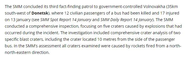 Часть доклада миссии ОБСЕ, которая касается трагедии под Волновахой. Скриншот сайта osce.org
