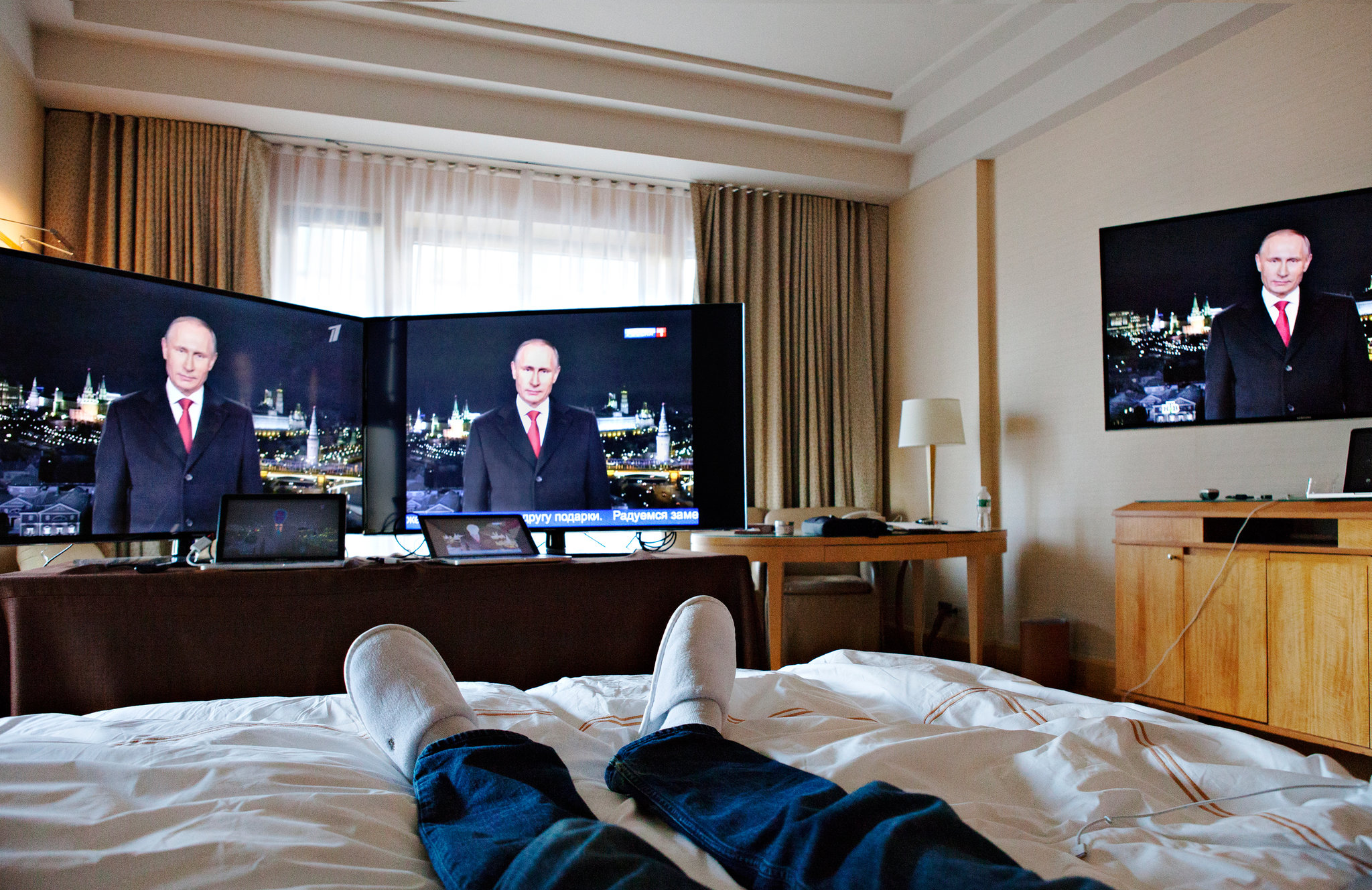 Gary Shteyngart at the Four Seasons hotel in New York, where he watched Russian television for seven days. Sasha Rudensky for The New York Times