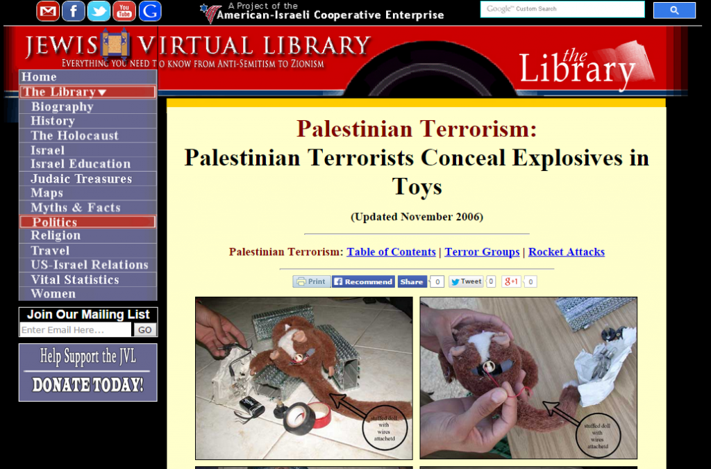 Palestinian Terrorists Conceal Explosives in Toys   Jewish Virtual Library