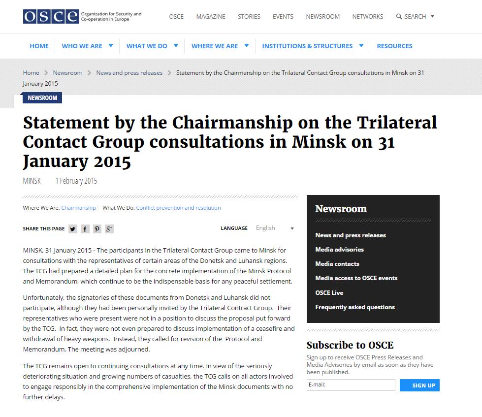 OSCE website screenshot