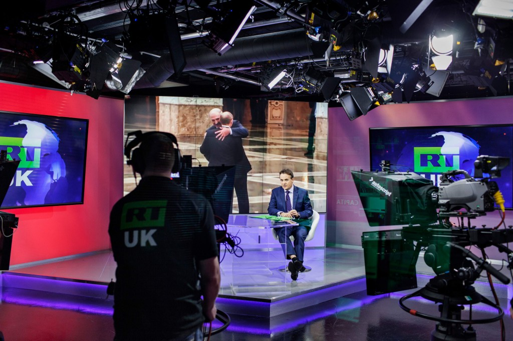 Anastasia Taylor-Lind for TIMEHot seat Anchor Bill Dod presents the news at RT's London studios