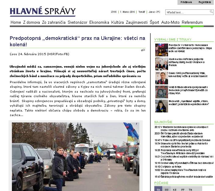 hlavnespravy.sk website screenshot