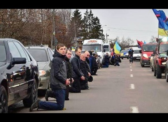 Fake: Ukrainians Must Kneel to the Right Sector