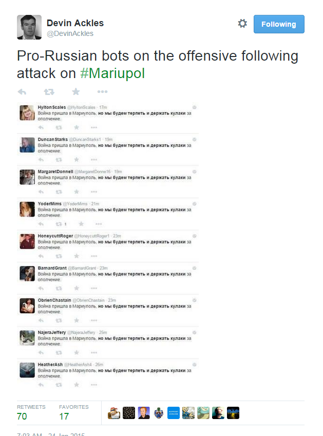 Devin Ackles on Twitter   Pro Russian bots on the offensive following attack on  Mariupol http   t.co AiH95Dp1wb