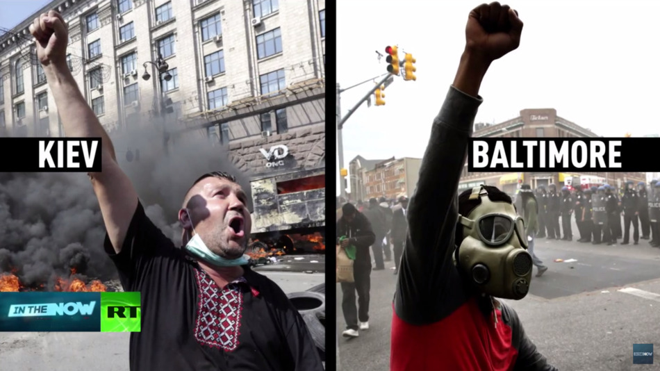 A screenshot from In The Now, a a program on Russia's state-sponsored RT network, shows a protester in Kiev in winter 2014 beside one in Baltimore on Monday, April 27, 2015.
