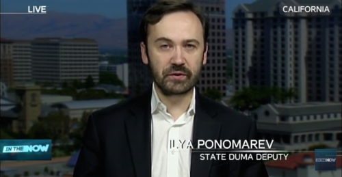 Screenshot of Ilya Ponomarev in his latest appearance on RT (April 16) to discuss Putin's annual Q&A