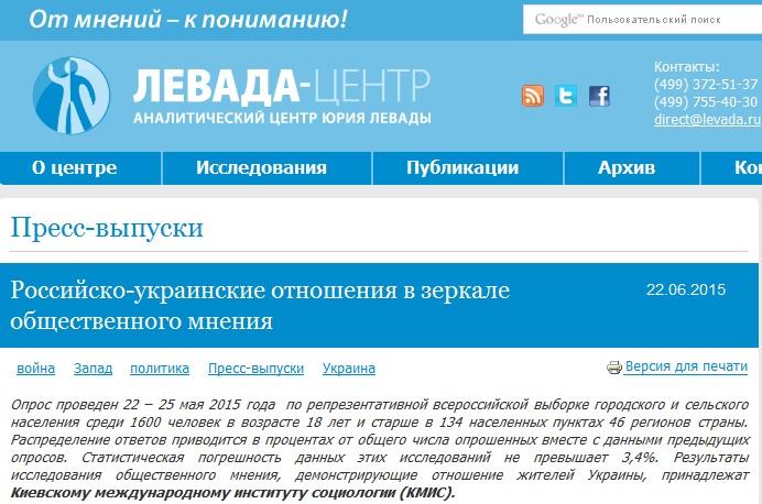 Скриншот сайта Левада-Центр