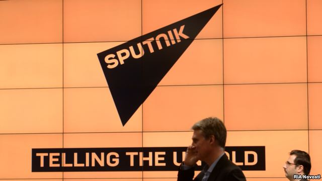 A debut presentation of the new Russian news agency Sputnik in Moscow on November 10, 2014.