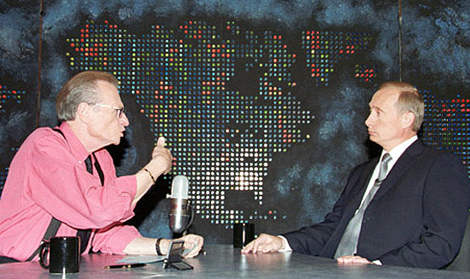 President Vladimir Putin interviewed by Larry King in New York, September 2000.  Kremlin.ru / Wikicommons