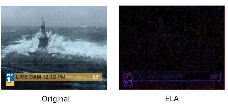 """Falešný snímek hurikánu Sandy. Snapshot z filmu """"Den poté"""" umístěn v titulku."""