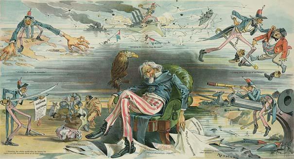 Сон дяди Сэма о завоеваниях и массовой резне. Карикатура из журнала PUCK 1895 года. Источник: Library of Congress / loc.gov