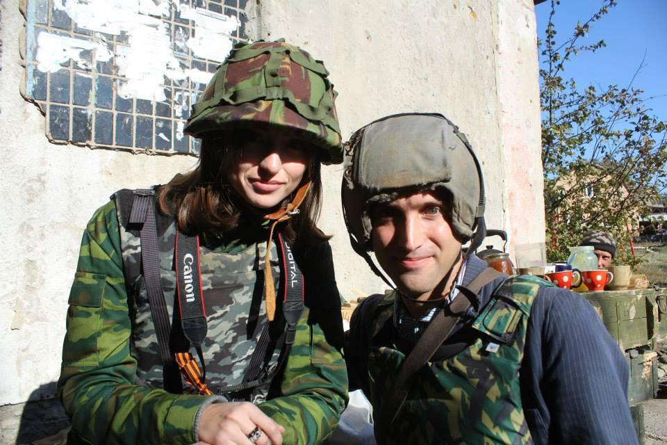 Graham Phillips (R) and a Zvezda TV reporter, Eastern Ukraine