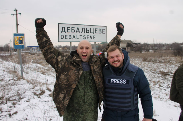 Graham Phillips with Dimitry Kulko after Debaltseve fell to Russian-backed forces on Feb 18th, 2015