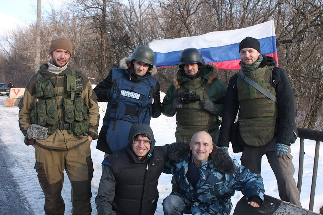 "Russian media ""journalists"" group photo in Ukraine - SM post"