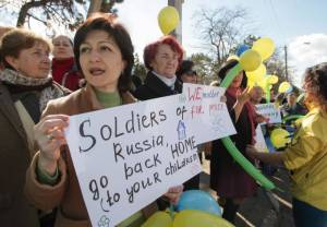 Such protests against Russia's annexation could soon be deemed 'anti-Russian propaganda'