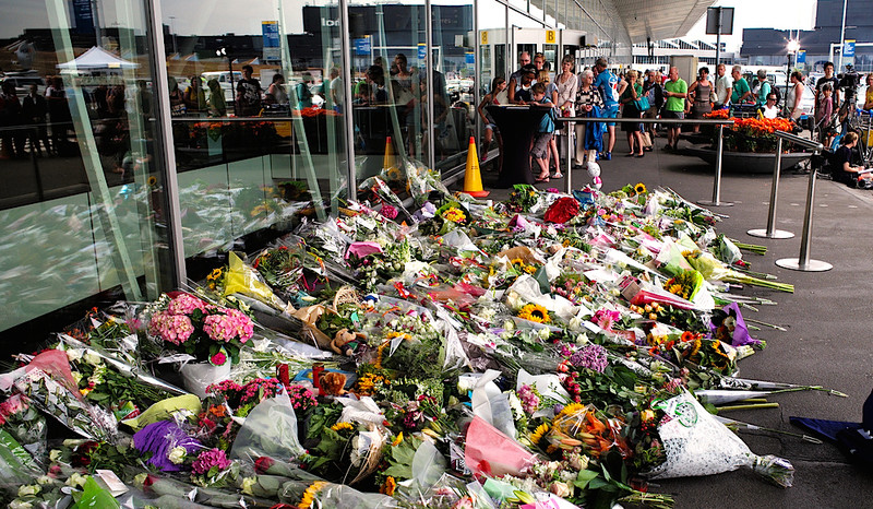 Flowers, last year, at Schiphol airport in Amsterdam, where MH17 took off (Photo: Roman Boed)