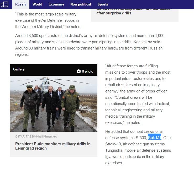 TASS informó sobre los entrenamientos rusos de la defensa aérea