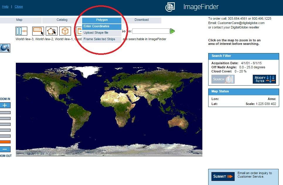 DigitalGlobe. Задать координаты