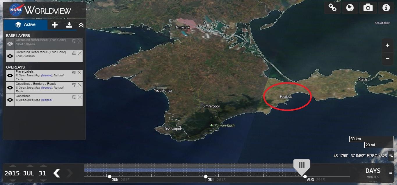 Numele oraşului Feodosia. Versiunea site-ului NASA