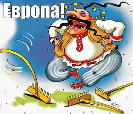 "Translation: ""Europe!"" [image ridicules Ukrainian dressed in national garb]"