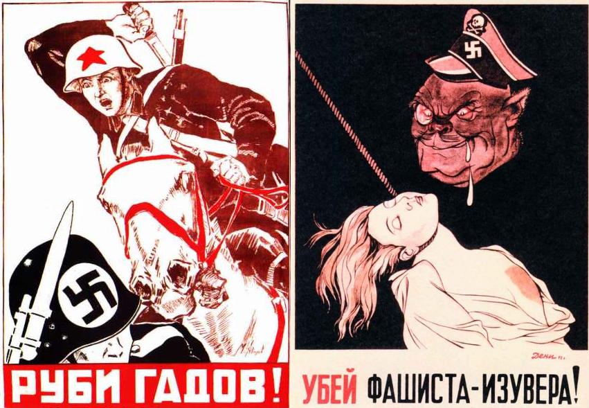 "Translation: ""Chop the bastards,"" (left) ""Kill the fascist scum"" (right)"