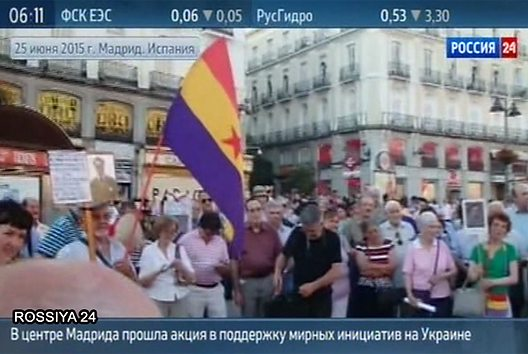 Russian TV said Madrid demonstrators were supporting Ukrainian separatism